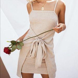 Sabo skirt knit ribbed tie wrap mini dress